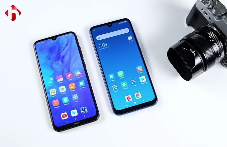 Mặt trước của Redmi Note 8 và Note 7
