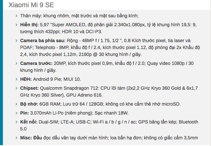 Mở hộp Xiaomi Mi 9 se xách tay