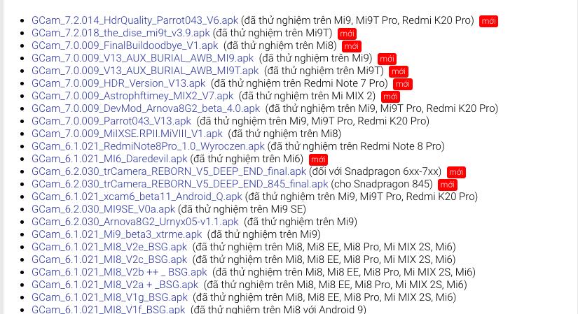 [Mới nhất] Tổng hợp link tải Google Cam cho các dòng Xiaomi: Note 8, K20,....