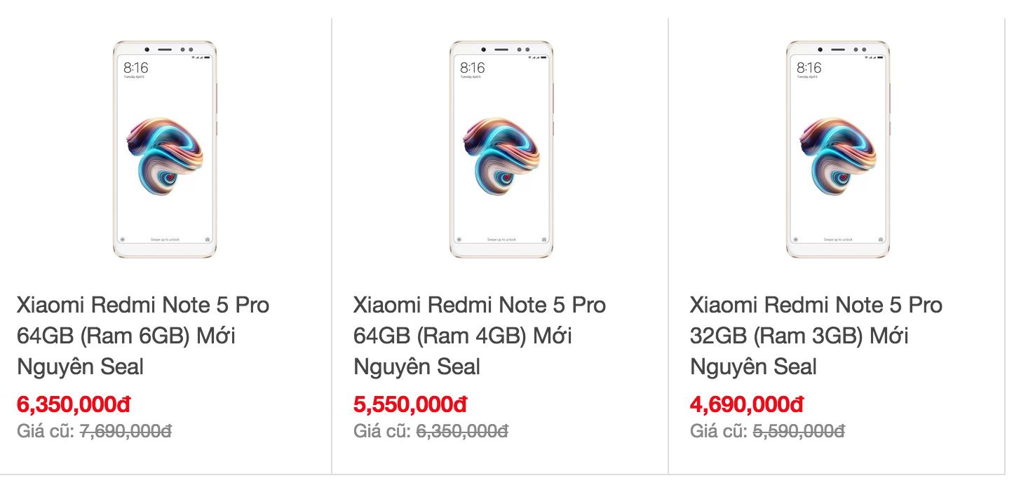 Điện thoại Xiaomi redmi note 5 pro giá re