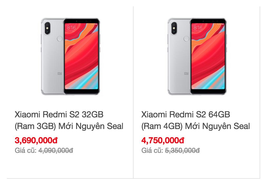 Giá bán của Xiaomi Redmi S2