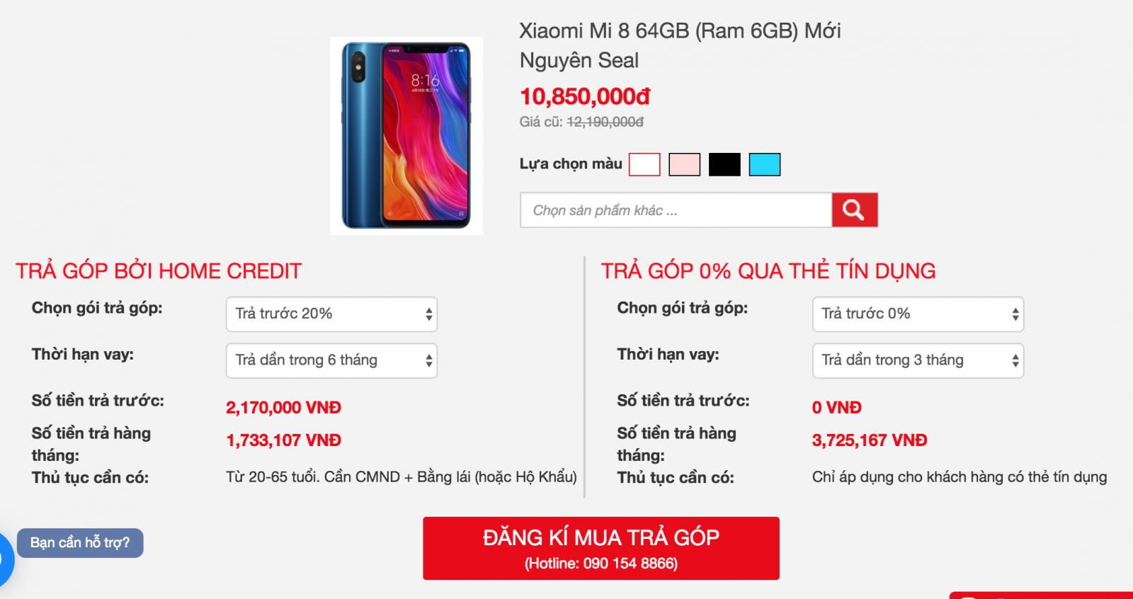 Hỗ trợ trả góp Xiaomi Redmi S2
