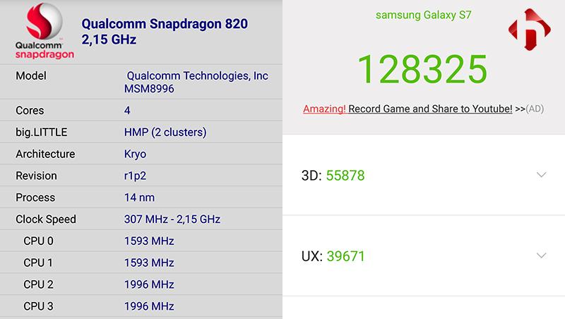 Điểm hiệu năng trên Galaxy S7
