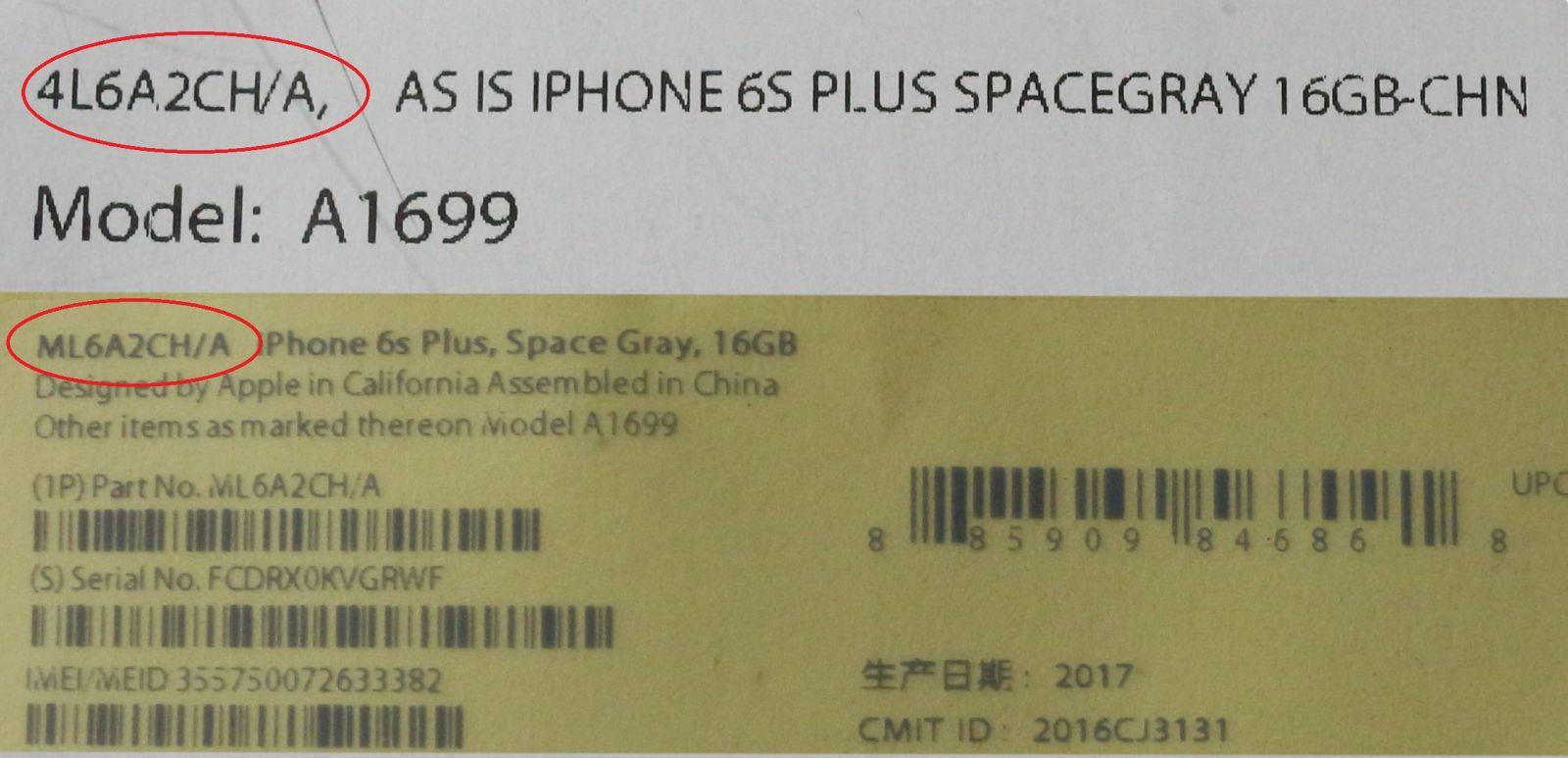 mã máy iPhone 6s Plus
