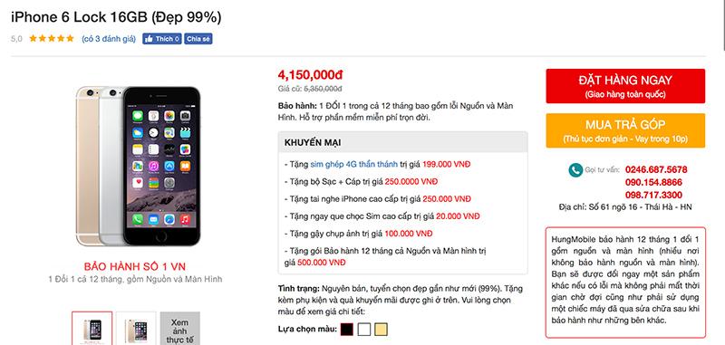 iPhone 6, 6 Plus Lock có giá rẻ