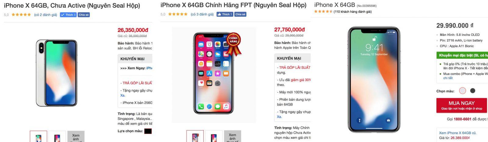 iPhone X chính hãng giá rẻ