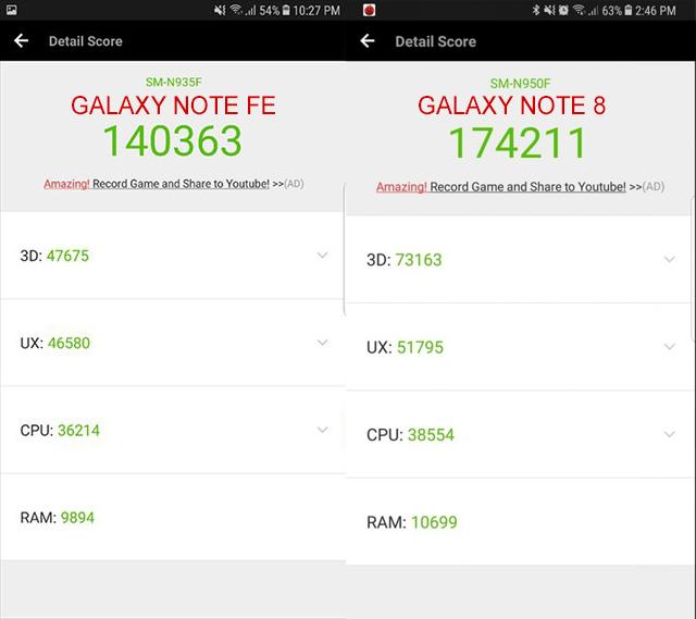 Điểm antutu trên Galaxy Note Fe với Note 8