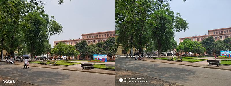 Chụp ảnh trong điều kiện đủ sáng xiaomi mi 8 và Note 8 Mỹ