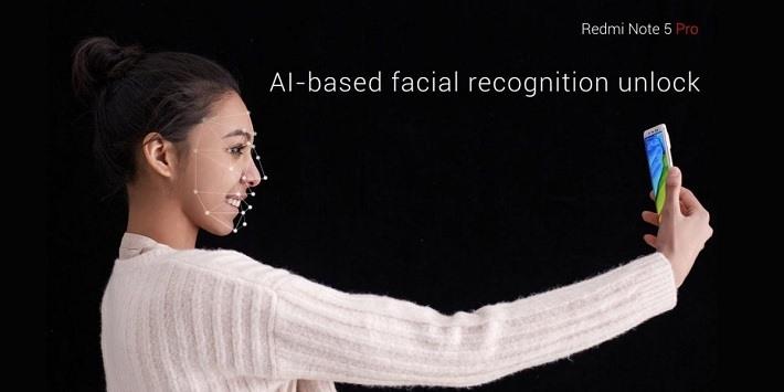 Xiaomi redmi note 5 pro được trang bị khả năng mở khóa bằng khuôn mặt