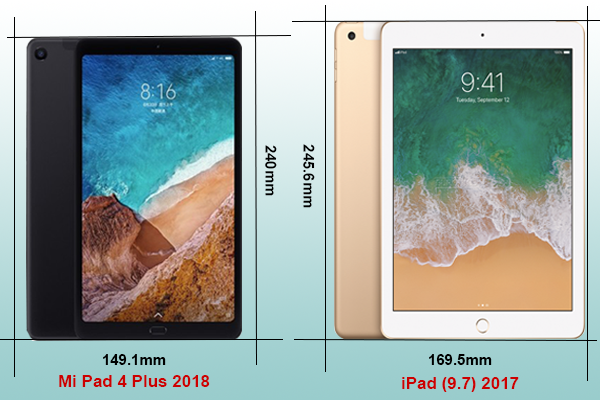 so sánh Mi pad 4 Plus iPad 2017