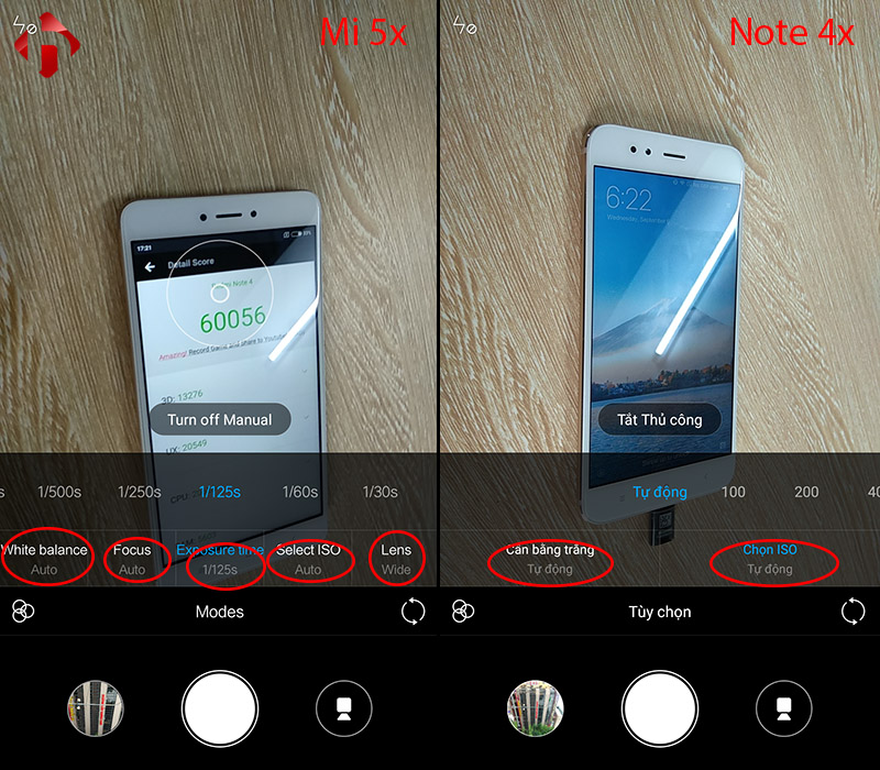 giao diện camera mi 5x vs note 4x