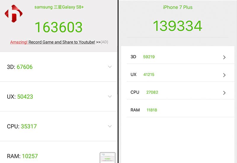điểm antutu trên iphone 7 plus và S8 Plus