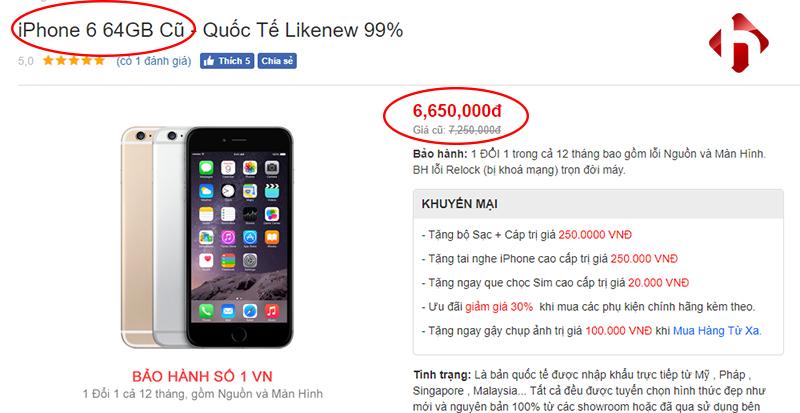giá iphone 6 64 Gb cũ
