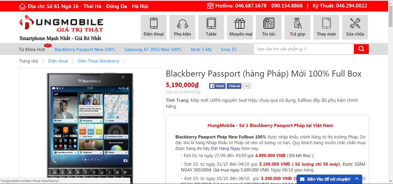 Giá Blackberry Passport