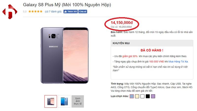 Galaxy S8 plus xách tay mỹ giá rẻ