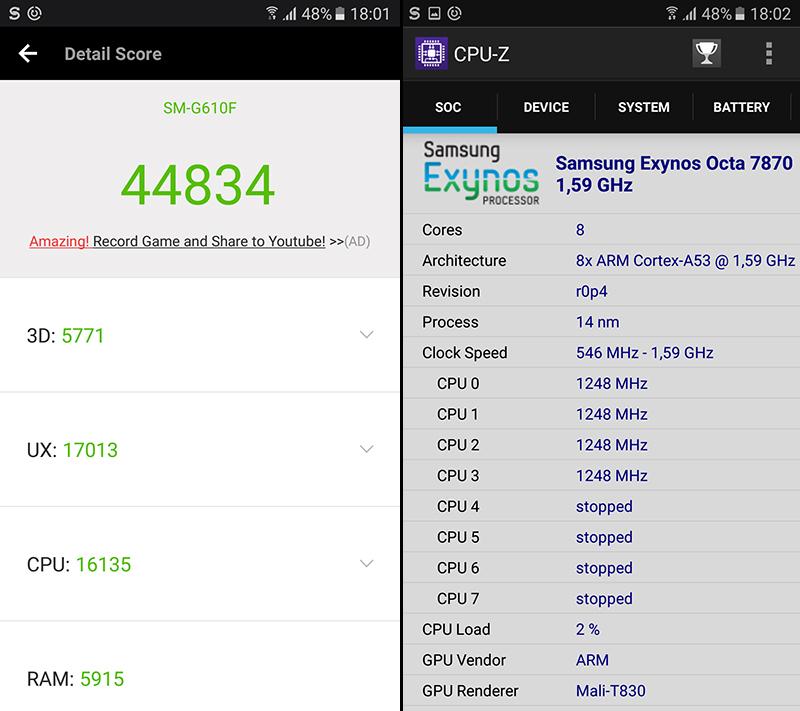 Điểm hiệu năng trên Samsung J7 Prime chính hãng