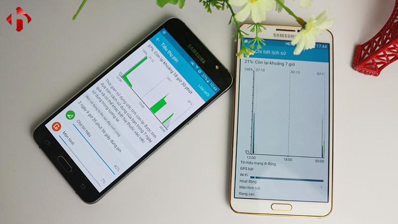 Thời lượng pin trên 2 máy Galaxy J7 2016 và Galaxy Note 3 Hàn