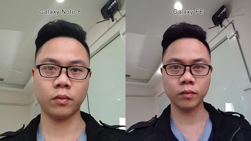 Ảnh Selfie của Note FE có góc chụp rộng hơn và màu da lên mịn màn hơn