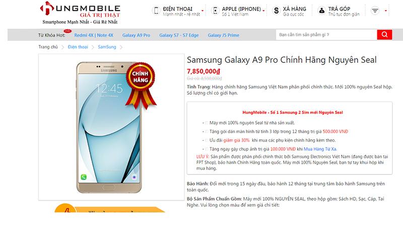 Mức giá Samsung Galaxy A9 chính hãng tại Hungmobile