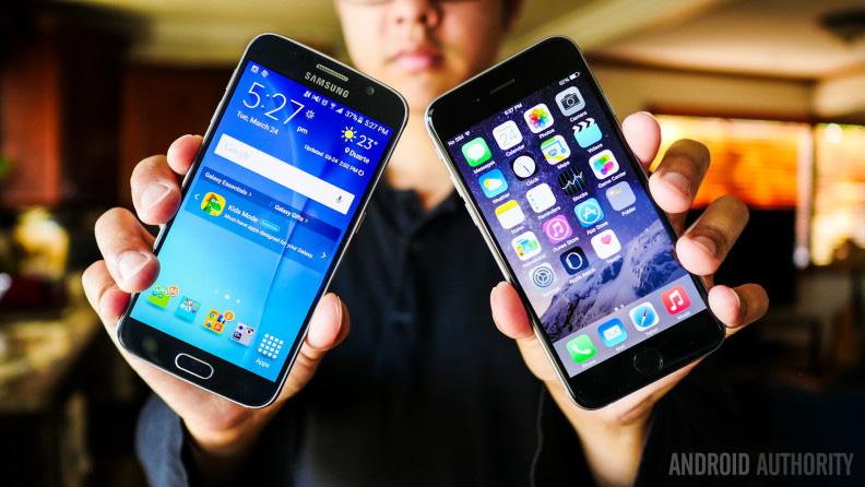 Giao diện iPhone 6 và samsung s6