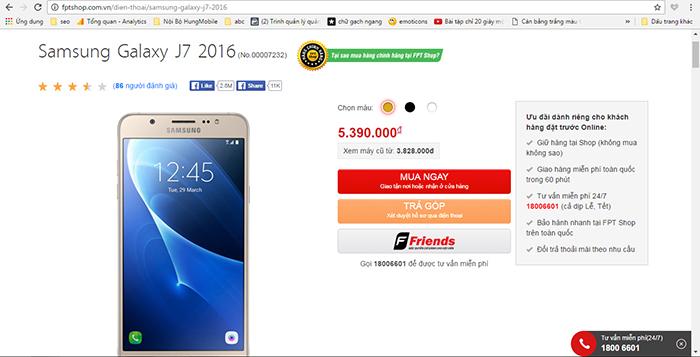 Samsung Galaxy J7 2016 có mức giá tốt