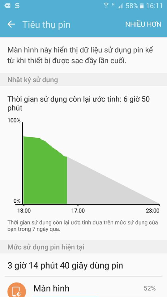 Thời lượng pin trên Samsung Galaxy On5 2016