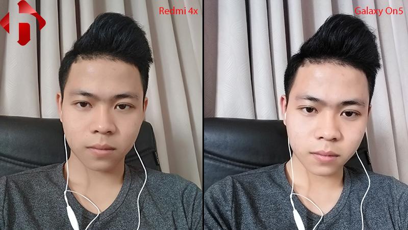 Ảnh chụp selfie trên Redmi 4x và Galaxy On 5
