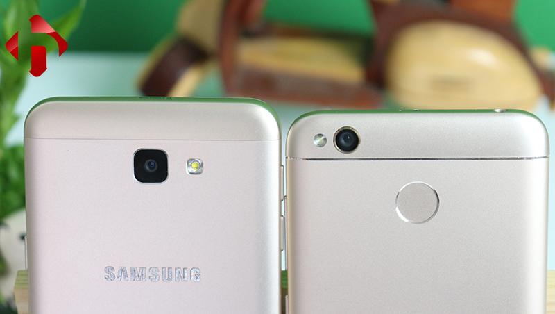 Vị trí camera trên Samsung J5 prime và Xiaomi Redmi 4x