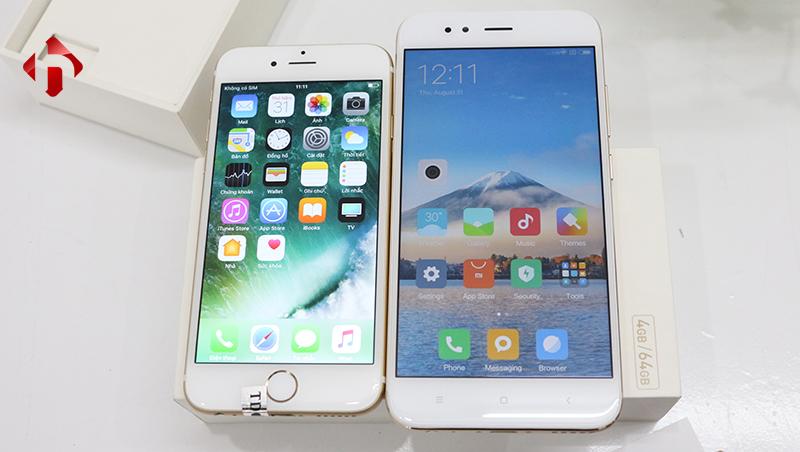 màn hình trên xiaomi mi 5x và iphone 6