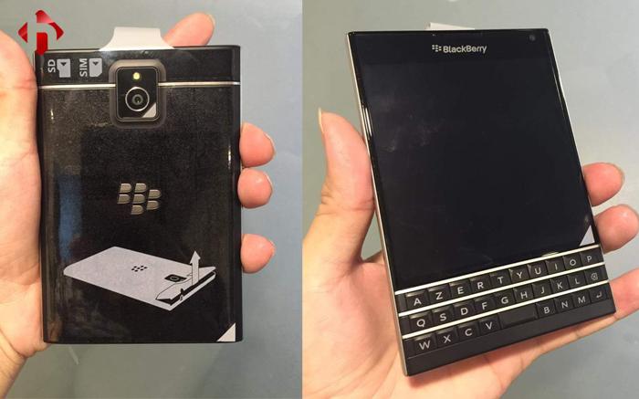 Mặt trước và mặt sau Blackberry Passport xách tay Pháp
