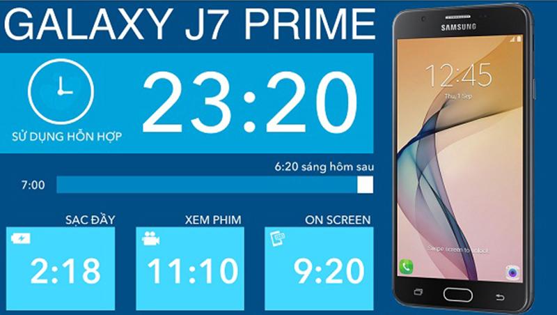 thời gian sử dụng pin trên Galaxy J7 Prime